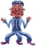 Ein Mann mit drei Gesichtern und drei Beinen Stockfotos