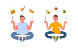 Ein Mann mit einer gesunden Mahlzeit und ein Mann mit einer ungesunden Fertigkost stock abbildung