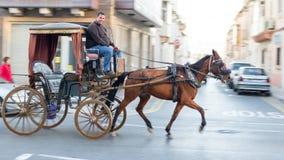 Ein Mann mit einer Pferdekutsche auf den Straßen von Malta Lizenzfreie Stockbilder