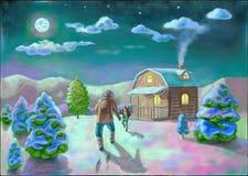 Ein Mann mit Mädchen nahe Haus in der Nacht Vektor Abbildung