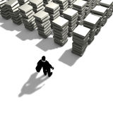 Ein Mann organisiert seine Arbeit Stockfoto