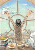 Ein Mann steht nahe dem Fenster mit Stadtansicht Vektor Abbildung