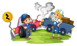 Ein Mann und ein weiblicher Mechaniker, welche die beschädigten Fahrzeuge reparieren lizenzfreie abbildung