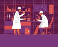 Ein Mann und eine Frau in der Uniform arbeiten in einem Labor Chemisches und biologisches Labor vektor abbildung