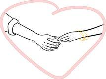 Ein Mann und eine Frau schließen sich Händen an Stockbilder