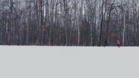 Ein Mann und ein Frauenlauf im Winter durch das Holz, das ihre Gesundheit ausbildet und tut Morgen-Rütteln, gesund stock video footage