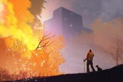 Ein Mann und ein Hund, die unter Waldbrand Burning, digitales illust stehen lizenzfreie abbildung