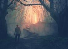 Ein Mann und ein schmaler Weg stock abbildung