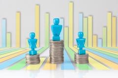 Ein Mann und zwei Frauenstatuetten, die auf Stapel von Münzen stehen Stockfotos