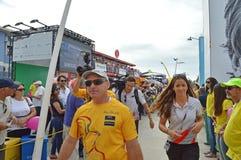 Ein Mannschaftsmitglied von Abu Dhabi Ocean Racing, Volvo-Ozean-Rennen Stockfotos