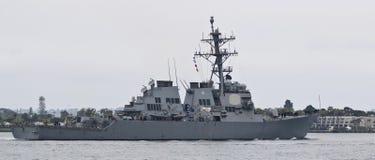 Ein Marine-Zerstörer Vereinigter Staaten, USS Higgins, Marinebasis San Dieg lizenzfreie stockfotografie