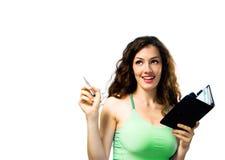 Ein Mädchen mit einem Organisator Stockfoto