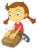 Ein Mädchen mit Schulebeutel Lizenzfreie Stockfotografie