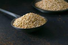 Ein Metalllöffel voll von Samen des indischen Sesams lizenzfreie stockfotos