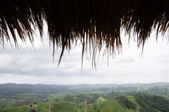 Ein mit Stroh gedeckte Dach mit szenischer Gebirgsnaturlandschaft stockbilder