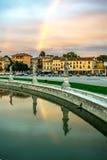 Ein mittelalterliches italienisches quadratisches Prato-dellla Valle, ein Markstein, Wunder stockbild
