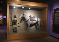 Ein mittelalterliches Pferd auf Anzeige in einem Museum Lizenzfreies Stockbild