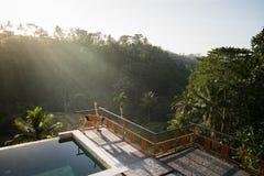 Ein Modell einer sch?nen, kurzhaarigen und jungen Frau, die Yoga mit Natarajasana-Haltungen durch das Pool mit Ansichten von Reis lizenzfreie stockfotos