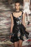 Ein Modell geht die Rollbahn während Alexander McQueens, der durch Sarah Burton-Show als Teil der Paris-Mode-Woche entworfen ist stockbilder
