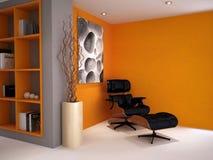 Ein moderner klassischer Stuhl in einer Retro- Artstudie Stockbild