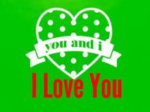 Ein moderner Liebesvektor-Grußkarten-Grünhintergrund lizenzfreie abbildung