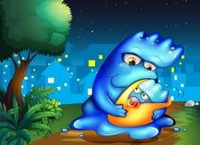Ein Monster und ihr Kind über dem Dorf lizenzfreie abbildung