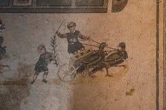 Ein Mosaik von Villa Del Casale, in Marktplatz armerina, Sizilien Lizenzfreie Stockfotografie