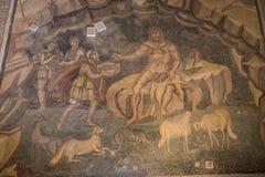 Ein Mosaik von Villa Del Casale, in Marktplatz armerina, Sizilien Lizenzfreie Stockfotos