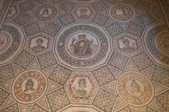 Ein Mosaik von Villa Del Casale, in Marktplatz armerina, Sizilien Stockfotos