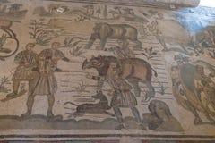 Ein Mosaik von Villa Del Casale, in Marktplatz armerina, Sizilien Stockfotografie