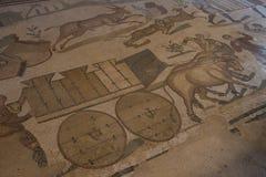 Ein Mosaik von Villa Del Casale, in Marktplatz armerina, Sizilien Lizenzfreie Stockbilder