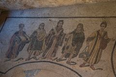 Ein Mosaik von Villa Del Casale, in Marktplatz armerina, Sizilien Lizenzfreies Stockfoto