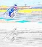 Ein Motorradrennläufer auf einer Sportbahn stockbilder