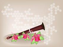 Ein musikalisches Serunai und Hibiscus-Blumen auf Brown-Ba Stockbild