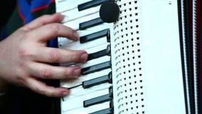 Ein Musiker, der das Akkordeon spielt stock footage