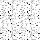 Ein Muster eines Mondes, der Sterne, der Wolke, der geschlossenen Augen und des Kissens Lizenzfreies Stockbild