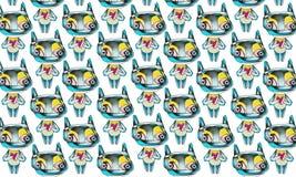 Ein Muster mit den kleinen Geschöpfen, die Herzen halten Stockfotografie