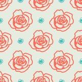 Ein Muster mit Rosen in zwei verschiedenen Farben lizenzfreie abbildung