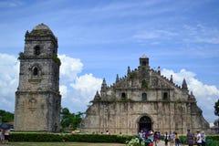 Ein näherer Blick von Paoay-Kirche Stockfotos