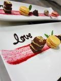 Ein Nachtisch voll der Liebe Stockfotos