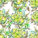 Ein nahtloses Blumenmuster mit den grünen und gelben exotischen Blumen des Aquarells und den Braunblättern Stockfotos