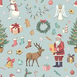 Ein nahtloses Farbmuster-Vektor Weihnachten Stockbilder