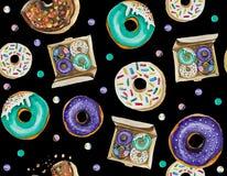 Ein nahtloses Muster besteht hauptsächlich Schaumgummiringe und verschiedene festliche Elemente und Dekorgegenstände lizenzfreies stockfoto