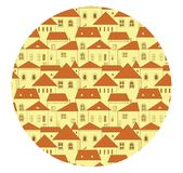 Ein nahtloses Muster mit alten Stadtgebäuden Lizenzfreie Stockfotos