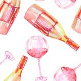 Ein nahtloses Muster mit den Aquarellgläsern des Rotweins und der Flaschen des Weins (Champagner) vektor abbildung
