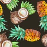 Ein nahtloses Muster mit den Aquarellkokosnüssen und -ananas Von Hand gezeichnet gemalt in einem Aquarell auf einem schwarzen Hin Lizenzfreie Stockfotos
