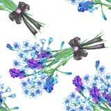 Ein nahtloses Muster mit den Blumensträußen von blauen Vergissmeinnichtblumen (Myosotis) und von Lavendel, verziert durch Bogen stock abbildung
