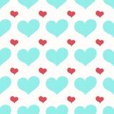 Ein nahtloses Muster mit den großen und kleinen Herzen vektor abbildung