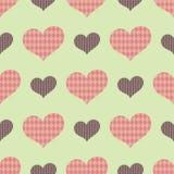 Ein nahtloses Muster mit den großen und kleinen Herzen mit Mustern nach innen vektor abbildung