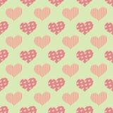 Ein nahtloses Muster mit den sogar Herzen gelegt in geometrische Bestellung vektor abbildung